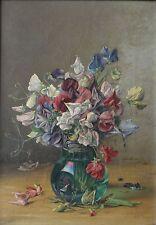 Tom HEYWOOD 1846–1919 British Still Life of Sweet Peas Flowers in Glass Vase