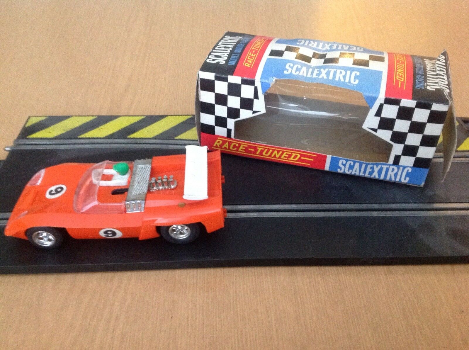 Vintage C4 Scalextric Electra in orange Number 9 Boxed