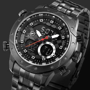 SHARK Men s LCD Analog Dual Time Watch Black Steel Band Digital Date ... dae9eec77da02