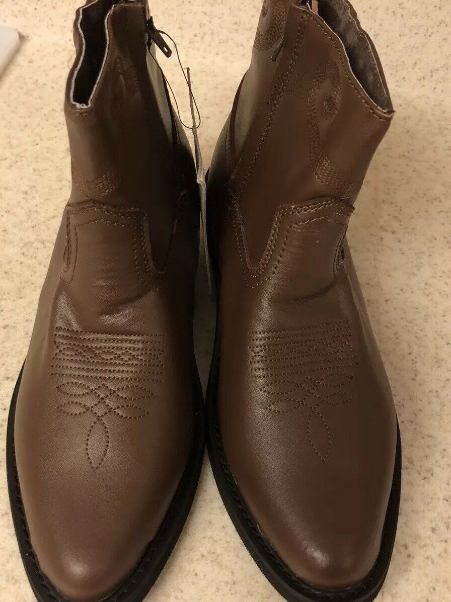 Saddle Tramp Mens Boots Sz 8.5 Brown  Embroidered Leather Cowboy Western Ankle