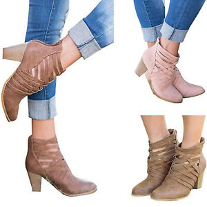 Womens-Ankle-Boots-Mid-Block-Heel-Cowboy-Style-Booties-Western-Casual-Shoes-Size