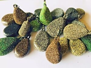 Gravel FLAT PEAR LEAD WEIGHTS SINKERS textured smooth Sea or Carp fishing tackle