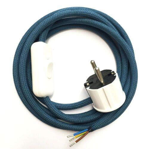 Textilkabel Azurblau Lampenkabel mit Stecker Schalter 3-adrig Zuleitung Premium