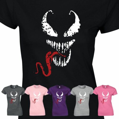 Venom Marvel Red Tongue Women Horror LOGO T Shirt Spideman Tee Ladies Gift shirt