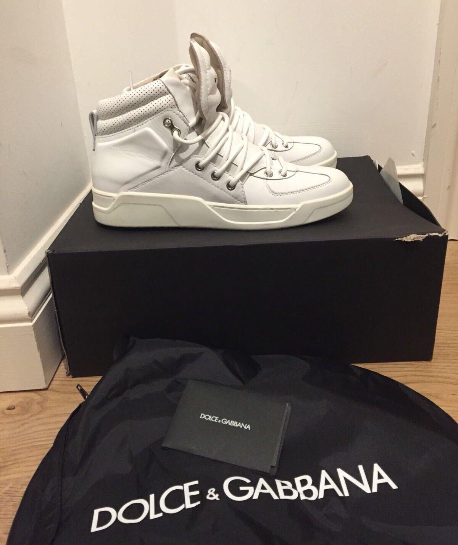 Dolce and Logo Gabbana Off- Weiß Raised Logo and Hi Top Trainers UK 7/EU 41 1a9fd2