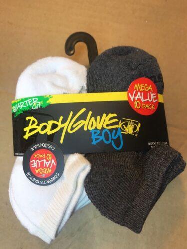 BODY GLOVE SOCKS Mega Value 10 pk Black White Gray Quarter Cut Boy Shoe Size 4-8