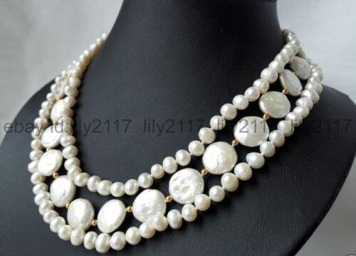 11-12 MM Coin Collier De Perles 17-20 in AA 3 Rangées Blanc 7-8 mm d/'eau Douce Pearl