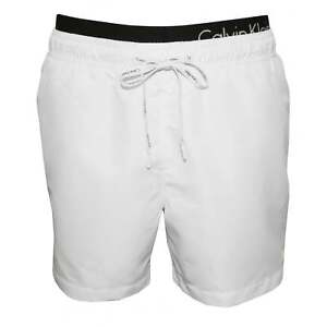 bf3cd5b5fa93 Details about Calvin Klein Double Waistband Men's Swim Shorts, White