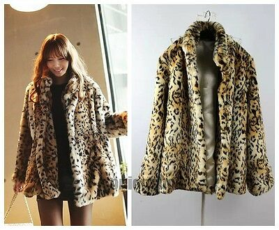 Super Quality!!Fashion Women Warm Tiger Leopard Print Faux Fur Jacket Coat S~XL