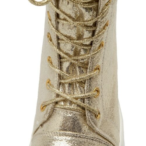 Details about  /New Fashion Womens Metallic Gold Lace Up Round Toe Wedge Mid Heels Punk Booties