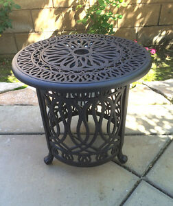 Patio-end-table-cast-aluminum-Ice-bucket-insert-round-Elisabeth-side-furniture