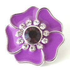 1 PC 18MM Purple Flower Rhinestone Silver Candy Snap Charm kb7104 CC1508