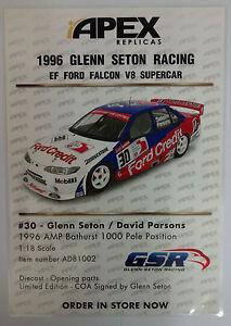 Laminated-Brochure-Apex-Replicas-1-18-1996-Glenn-Seton-Racing-EF-Ford-V8-Car