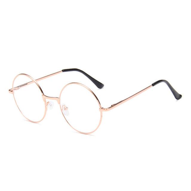 Women Men Large Metal Frame Clear Lens Round Circle Eye Glasses Nerd ...