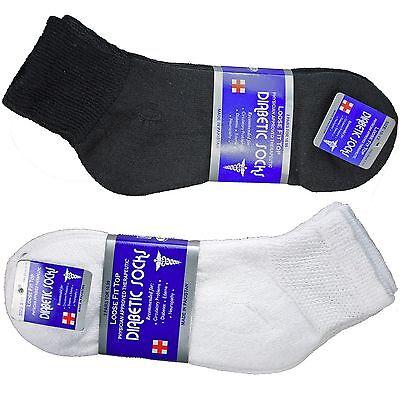 3 6 12 Pairs Diabetic Ankle Quarter Crew Socks Health Cotton Mens Womens 9-15