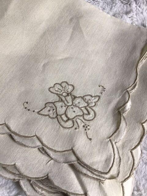Set of 12Vintage Hand Embroidered Cutwork Beige/Tan Linen Napkins-Scalloped Edge