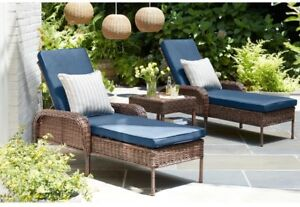 Details About Hampton Bay Wicker Outdoor Patio Furniture Aluminum Chaise Lounge Blue Cushion