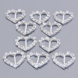 10pcs-Heart-Clear-Crystal-Rhinestone-Diamante-Ribbon-Buckles-Sliders-Craft-Decor