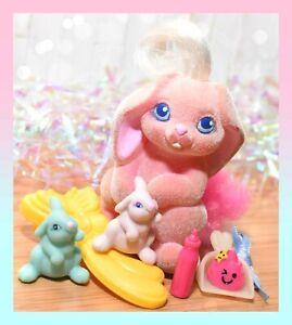 ❤️Vtg Li'l Lil Litters My Little Bunny Pony ADORABLE ANGORA Mommy Baby Rabbit❤️