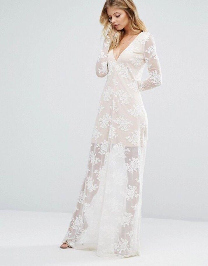 MAJORELLE AZTEC Long Sleeve Floral Ivory Lace MAXI DRESS Sz XS  268NWT MJF16D032