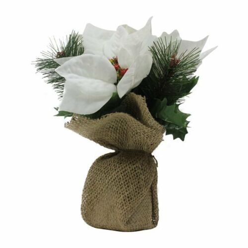 Stunning White Artificial Poinsettias in Hessian Bag
