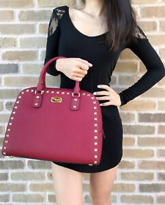 Image is loading Michael-Kors-Sandrine-Stud-Leather-Large-Satchel-Crossbody- 187aa5e9bf52b