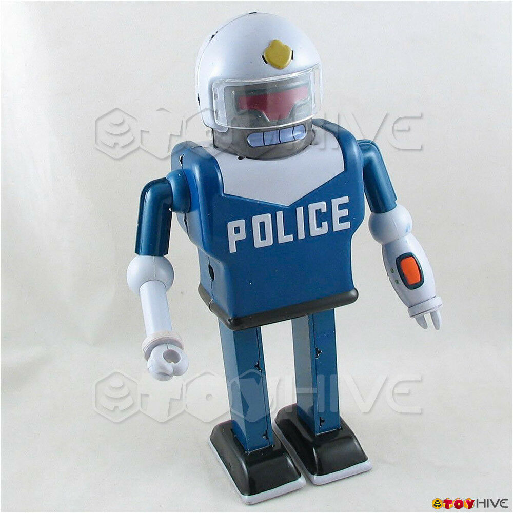 Futurama URL tin wind-up robot police toy - used scratched figure worn open box
