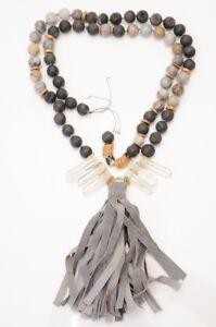 Akola-gray-multi-agate-druzy-beaded-long-beaded-leather-tassel-necklace-NEW-450