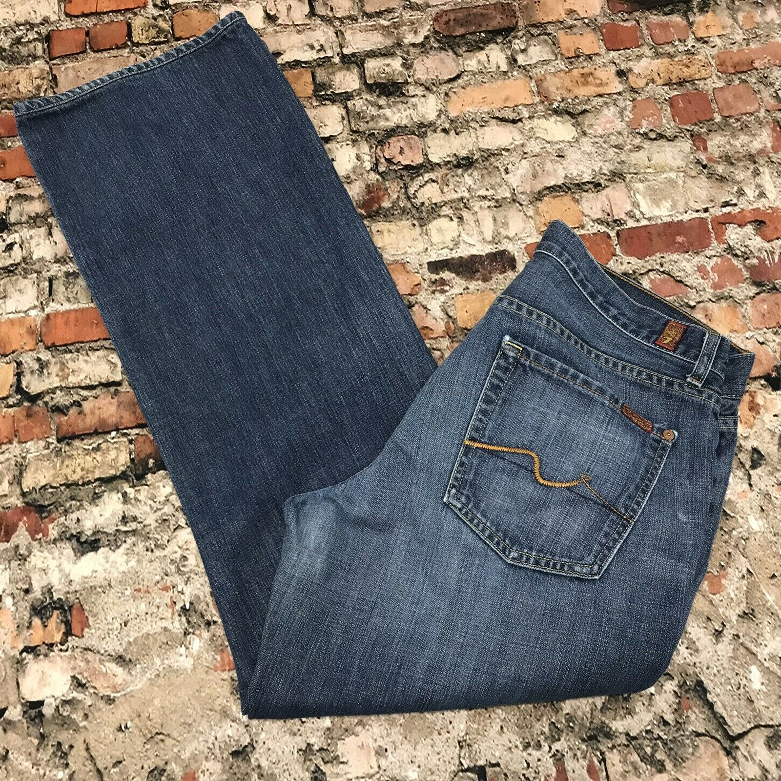 7 For All Mankind RELAXED Fit Men's 33x31 bluee Denim Fly Buttons Jeans  BB30
