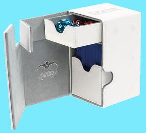 ULTIMATE-GUARD-FLIP-n-TRAY-WHITE-100-XENOSKIN-DECK-CASE-Standard-Size-Card-Box