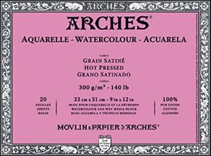 Arches-Watercolor-Block-10-5-oz-Hot-Press-Paper-9-x-12-Sheets-177-185