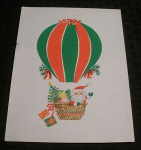 MERRY-CHRISTMAS-Santa-Claus-in-Hot-Air-Balloon-6x8-034-Greeting-Card-Art-nn