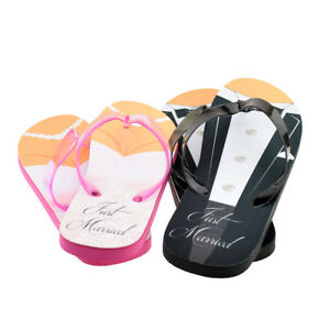 e0fa287bb Just Married Tux and Wedding Dress His   Her Flip Flops - XFFS050 ...