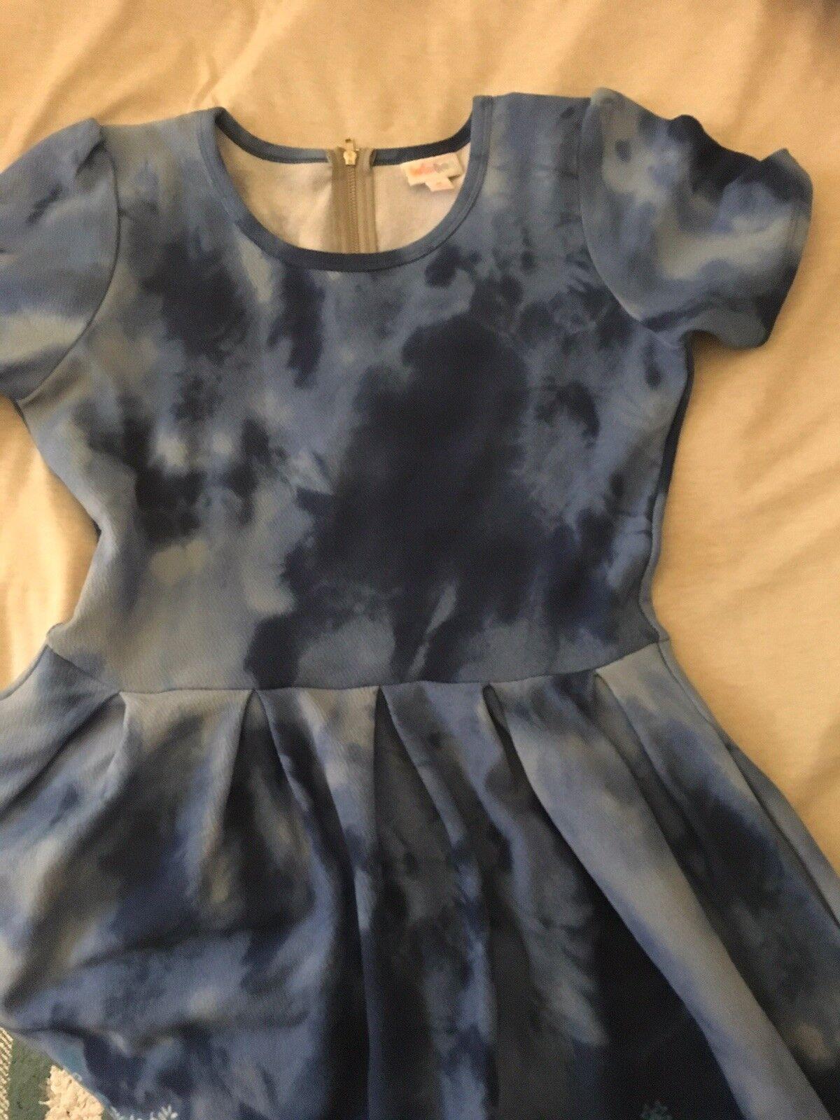 LuLaRoe M Unicorn Amelia Dip Dye Tie Dye WaterFarbe Lace Blau Dress Pockets Rare