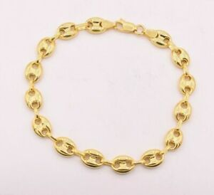 9mm Puffed Anchor Mariner Link Bracelet 14K Yellow Gold Clad Silver 925