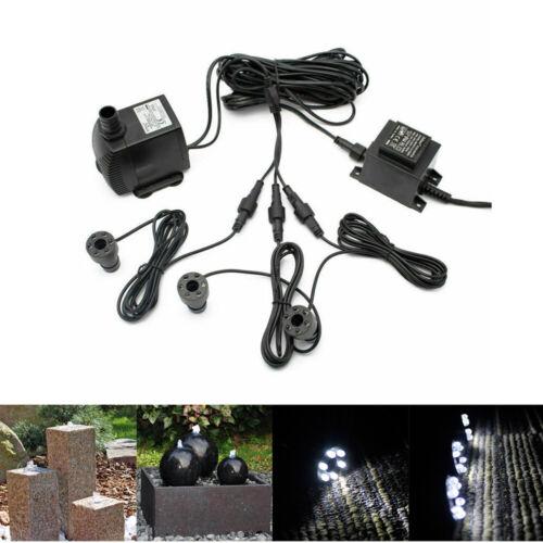 1500l/h Pumpe mit 3 LED für Springbrunnen Garten Quellstein Wasserspiel Teich