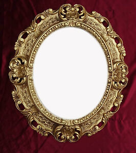 Picture-Frame-with-Glass-Protection-Gold-Oval-Baroque-Antique-Repro-Vintage