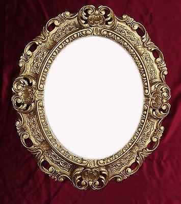 Portafoto Con Vetro Protezione Vetro Oro Ovale Barocco Antico Repro Vintage 45x38 Cm-