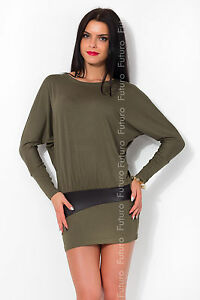Womens Stunning Loose Dress Casual Batwing Short Sleeve Boat Neck Size 8-12 3410