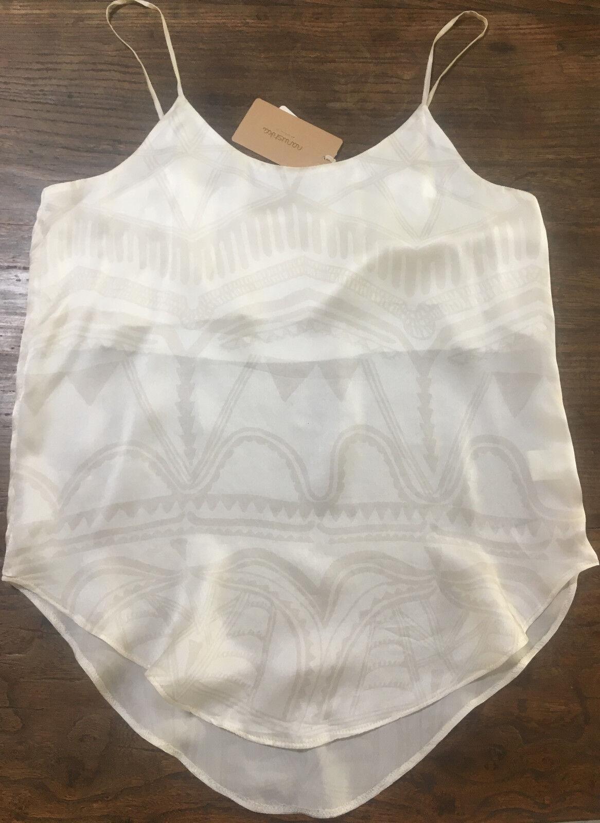 NANUSHKA 100% Silk Cream Aztec Print Camisole Vest Top S BUZZ UK10