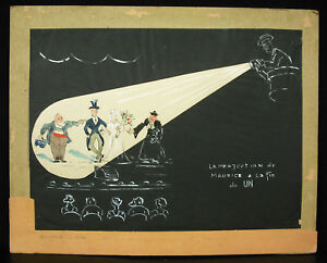 1951-Projection-of-Maurice-with-End-of-Un-Cinema-Drawing-Original-with-Gouache