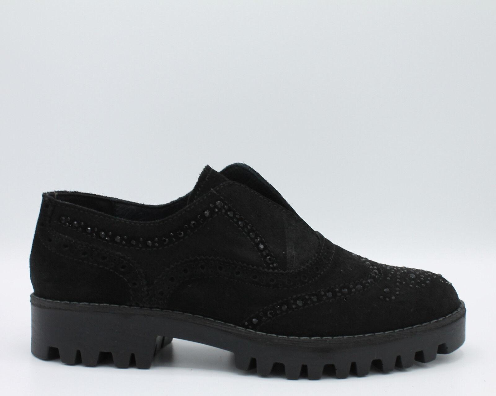 Igi & co. Chaussures pour femmes slip-on en daim noir piqûres anglais art. 87940