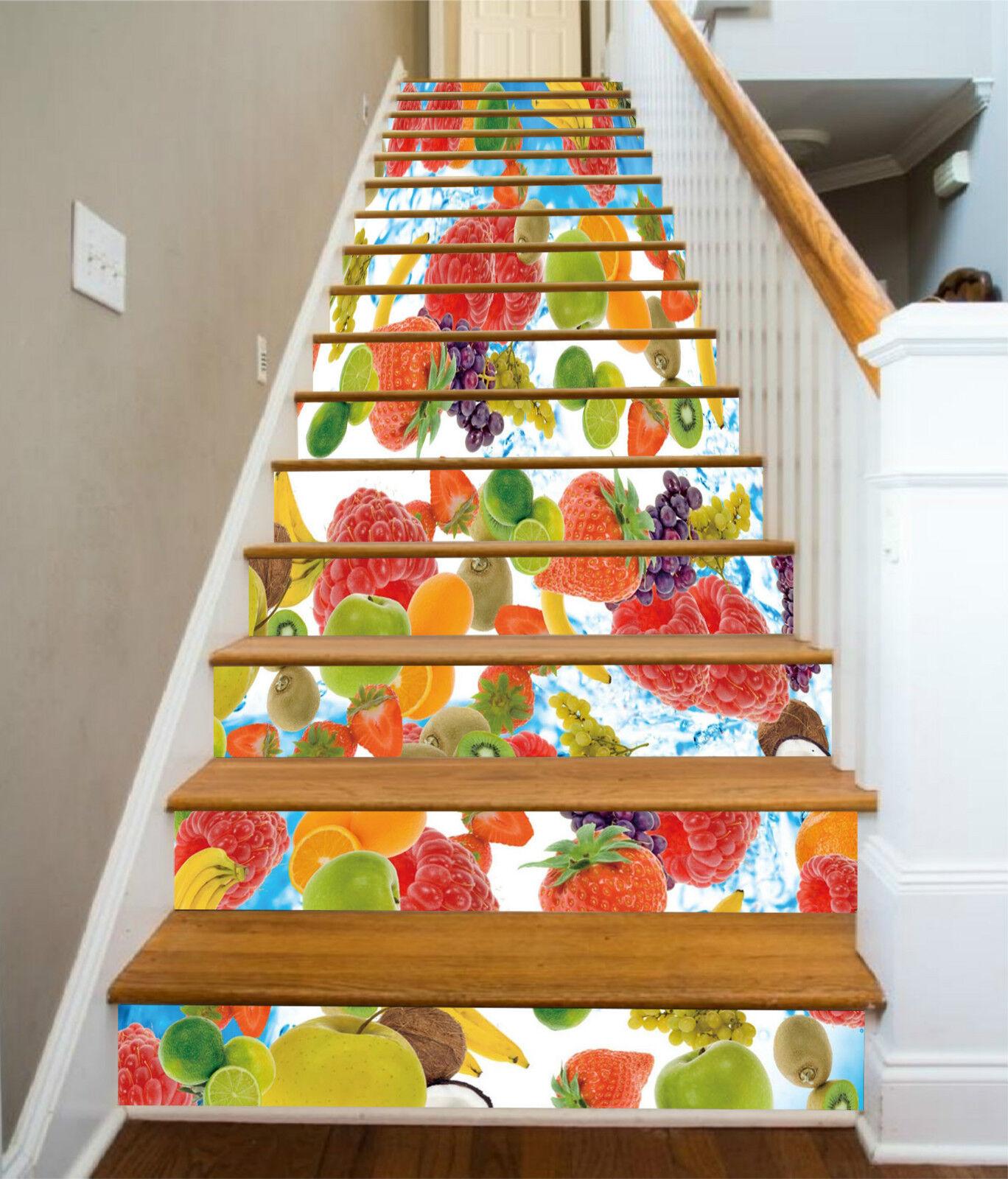 3D Erdbeeren Obst 7 Stair Risers Dekoration Fototapete Vinyl Aufkleber Tapete DE