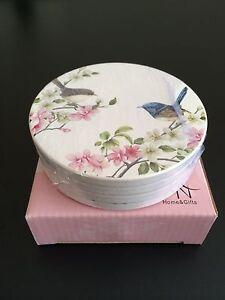 Australian-Bird-Series-034-Blue-Wren-034-Set-of-4-Ceramic-Coasters-Boxed