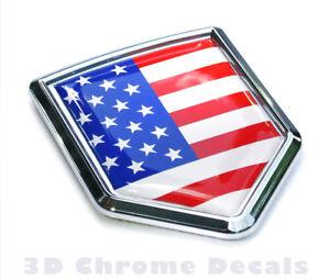 Canada USA Flag Car Chrome Canadian American Emblem 3D Decal Sticker