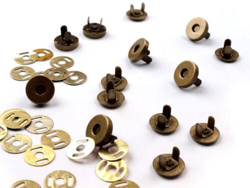 10 pièces fermeture magnétique aimant fermeture à bouton 4 pièces altmessing 18 MM NEUF