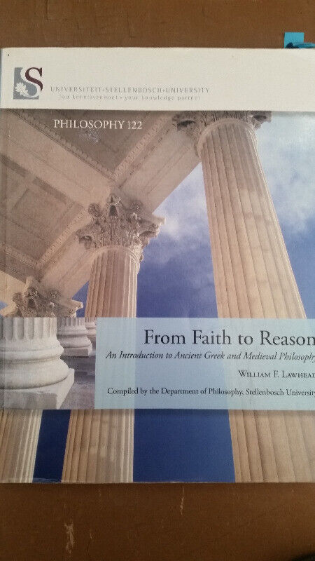 Philosophy 122 From Faith to reason Textbook Stellenbosch University