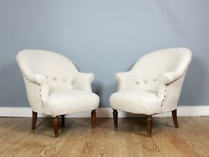 Pair-of-Newly-Upholstered-French-034-Crapaud-034-Tub-Chairs