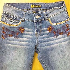 Womens-Jeans-Size-7-8-Boot-cut-Embroidered-Embellished-Medium-wash-Jou-Jou