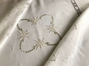 VINTAGE-HAND-EMBROIDERED-OFF-WHITE-LINEN-034-LACE-INSERT-TABLECLOTH-43X43-INCHES